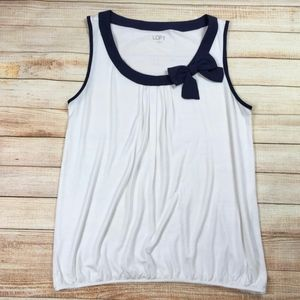 Loft Bow Tank Top in White and Navy